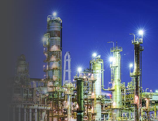Chemical Plant Skyline - Example of location Temperature Sensors and Assemblies by Pyromation may be used in